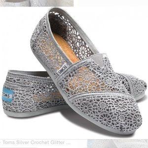 Toms classic silver crochet flats